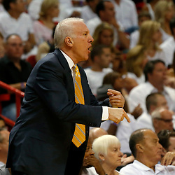 Jun 18, 2013; Miami, FL, USA; San Antonio Spurs head coach Gregg Popovich reacts during the first quarter of game six in the 2013 NBA Finals against the Miami Heat at American Airlines Arena.  Mandatory Credit: Derick E. Hingle-USA TODAY Sports
