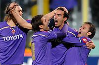 """Dario DAINELLI of Fiorentina celebrates scoring with MUTU and GILARDINO<br /> Esultanza dopo il gol di Dario DAINELLI<br /> Fiorentina Debrecen<br /> Firenze 04/11/2009 Stadio """"Artemio Franchi""""<br /> Champions League 2009/2010<br /> Foto Insidefoto"""