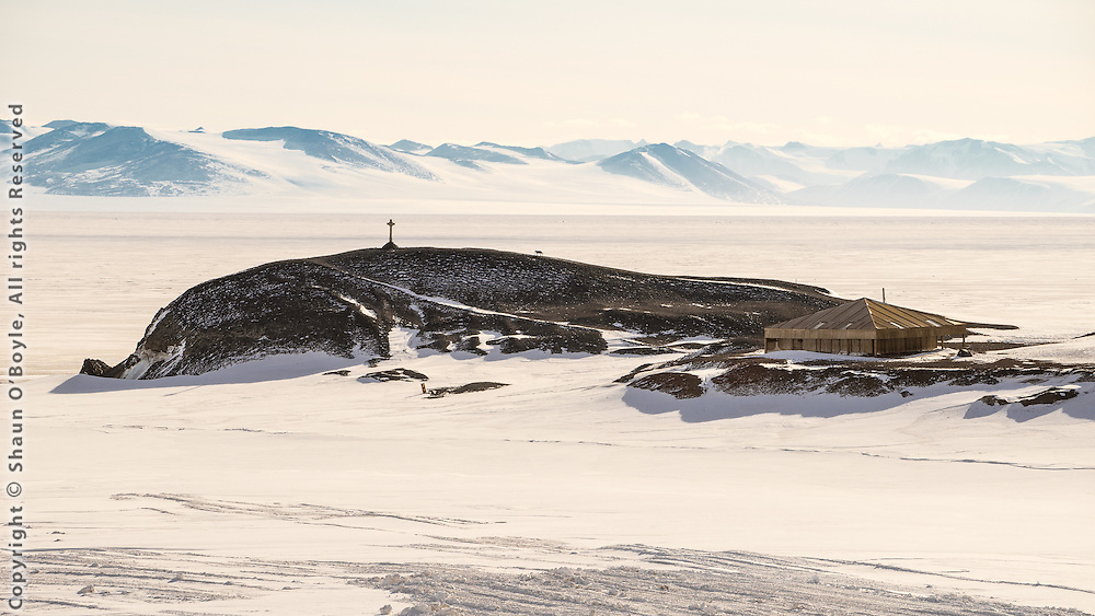 Hut Point and Discovery Hut from McMurdo Station