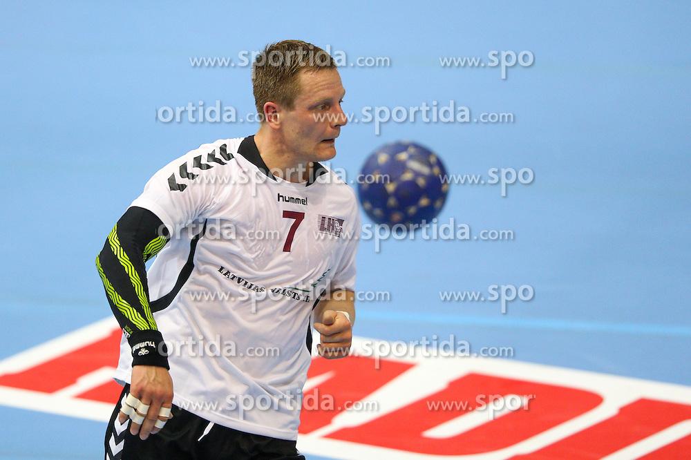 Aivis Jurdzs of Latvia during handball match between National Teams of Slovenia and Latvia in Qualification of 2016 Men's European Championship, on June 13th, in Rdeca Dvorana, Velenje. Photo by Morgan Kristan / Sportida