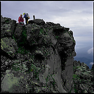 Harsh conditions, even in summer, on the summit of Mount Rausu, the highest mountain on the Shiretoko Peninsula and an active volcano, Hokkaido, Japan, an UNESCO World Heritage Site.