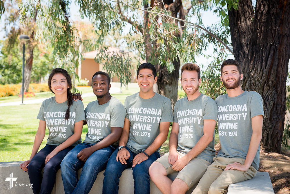 A portrait of campus ambassadors (L-R) Michelle Martir, Wesley Barnes, David Diaz, Jacob Schott, and Braden Delannoy on the campus of Concordia University Irvine on Wednesday, July 9, 2014, in Irvine, Calif. LCMS Communications/Erik M. Lunsford