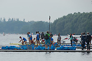 Hamburg. GERMANY.   General View of the boating pontoons. Saturday Morning, Semi Finals A/B  at the 2014 FISA Junior World rowing. Championships.  10:44:48  Saturday  09/08/2014  [Mandatory Credit; Peter Spurrier/Intersport-images]