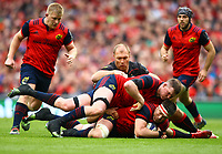 Rugby Union - 2016 / 2017 European Rugby Champions Cup - Semi-Final: Munster vs. Saracens<br /> <br /> Munster's Billy Holland in action against Schalk Brits and Schalk Burger of Saracens at the Aviva Stadium, Dublin.<br /> <br /> COLORSPORT/KEN SUTTON