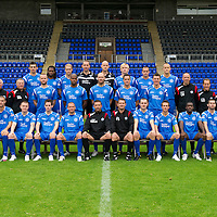 St Johnstone FC Photocall...Season 2010-11<br /> Back Row from left, Scott Dobie, Collin Samuel, Steven Anderson, Graeme Smith, Peter Enckelman, Liam Craig, Steven Milne, Danny Grainger.<br /> Middle row from left, Jocky Peebles Asst Physio, Atholl Henderson Community Coach, Nick Summersgill Physio, Kevin Rutkiewicz, Michael Duberry, Sam Parkin, Graham Gartland, Martin Hardie, Gordon Marshall Goalkeeping Coach, Alec Cleland U19 Coach, Tommy Campbell Youth Development Manager.<br /> Front row from left, Marcus Haber, Andy Jackson, Kevin Moon, Jody Morris, Derek McInnes Manager, Tony Docherty Asst Manager, Dave Mackay, Chris Millar, Cleveland Taylor and Peter MacDonald<br /> Picture by Graeme Hart.<br /> Copyright Perthshire Picture Agency<br /> Tel: 01738 623350  Mobile: 07990 594431