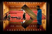 View of the auditorium from the stage during the assembling stage at the theater Elfo-Puccini, Milan...Vista della platea dal palcoscenico durante i lavori di allestimento della scena al teatro Elfo-Puccini, Milano.