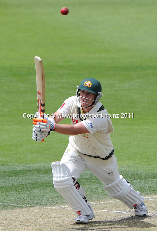 David Warner on Day 4 of the second cricket test between Australia and New Zealand Black Caps at Bellerive Oval in Hobart, Monday 12 December 2011. Photo: Andrew Cornaga/Photosport.co.nz