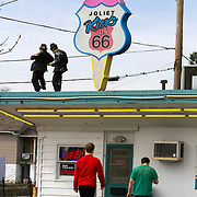 Rich and Creamy ice cream store on historic U.S. Route 66 in Joliet. The Mother Road starts in Chicago traveling through 6 states and ending in Santa Monica, California.<br />