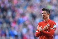 2:0 Jubel Torschuetze Robert Lewandowski (Bayern) <br /> Muenchen, 25.02.2017, Fussball Bundesliga, FC Bayern München - Hamburger SV 8:0<br /> <br /> Norway only