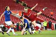 Liverpool women forward Niamh Charles (17) and Everton women defender Danielle Turner (3) clash  during the FA Women's Super League match between Liverpool Women and Everton Women at Anfield, Liverpool, England on 17 November 2019.