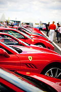 Ferrari's owners display lined up. Silverstone Classic 25/7/10.