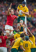 Twickenham, Great Britain,  Left Alun WYN JONES and Australian, Dean MUMM, contest the line out ball, during the Pool A game, Australia vs Wales.  2015 Rugby World Cup,  Venue, Twickenham Stadium, Surrey, ENGLAND.  Saturday  10/10/2015.   [Mandatory Credit; Peter Spurrier/Intersport-images]