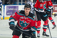 KELOWNA, CANADA - DECEMBER 7: Liam Kindree #26 of the Kelowna Rockets warms up against the Victoria Royals on December 7, 2018 at Prospera Place in Kelowna, British Columbia, Canada.  (Photo by Marissa Baecker/Shoot the Breeze)