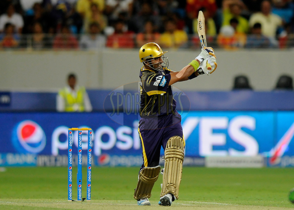Robin Uthappa of the Kolkata Knight Riders bats during match 6 of the Pepsi Indian Premier League Season 7 between the Kolkata Knight Riders and the Delhi Daredevils held at the Dubai International Cricket Stadium, Dubai, United Arab Emirates on the 19th April 2014<br /> <br /> Photo by Pal Pillai / IPL / SPORTZPICS