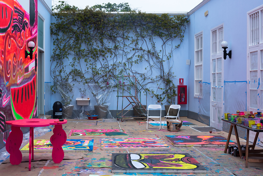 Lima, Peru -- April 13, 2018. An open air artist studio / workspace in the Barranco District of Lima, Peru. Editorial use only.