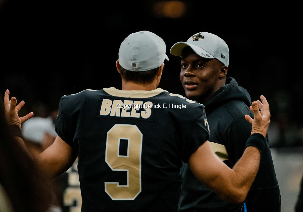 Aug 30, 2018; New Orleans, LA, USA; New Orleans Saints quarterback Drew Brees (9) talks with quarterback Teddy Bridgewater during the first half of a preseason game against the Los Angeles Rams at the Mercedes-Benz Superdome. Mandatory Credit: Derick E. Hingle-USA TODAY Sports