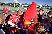 "Jan. 26, 2009 -- PHOENIX, AZ: ""Big Red,"" the Arizona Cardinals mascot, signs autographs for fans after a send off party for the NFL team after they left for Tampa, FL, to play in the Super Bowl. The Arizona Cardinals are in the Super Bowl for the first time in the team's history. They defeated the Philadelphia Eagles to win the NFC Championship on Jan 18. With a record of 9 - 7 they have one of the worst records of any team to make the Super Bowl. Before this year they had a total of two playoff victories in the team's 111 year history, in 1947 when they won the league championship, and 1998 in a wild card game against the Dallas Cowboys. They face the Pittsburgh Steelers in Tampa on Feb. 1.    Photo By Jack Kurtz / ZUMA Press"