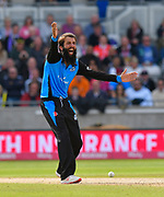 Wicket - Moeen Ali of Worcestershire successfully appeals for an LBW against Arron Lilley of Lancashire during the Vitality T20 Finals Day Semi Final 2018 match between Worcestershire Rapids and Lancashire Lightning at Edgbaston, Birmingham, United Kingdom on 15 September 2018.