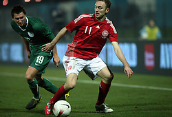 Andraz Kirm (19) of Slovenia and Dennis Rommedahl (11) of Denmark during the UEFA Friendly match between national teams of Slovenia and Denmark at the Stadium on February 6, 2008 in Nova Gorica, Slovenia. Slovenia lost 2:1. (Photo by Vid Ponikvar / Sportal Images).