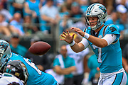 Sunday, October 6, 2019; Charlotte, N.C., USA;  Carolina Panthers quarterback Kyle Allen (7) receives the snap during an NFL game against the Jacksonville Jaguars at Bank of America Stadium. The Carolina Panthers beat the Jacksonville Jaguars 34-27. (Brian Villanueva/Image of Sport)