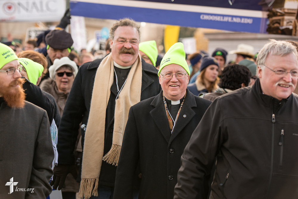The Rev. Dr. Matthew C. Harrison, president of The Lutheran Church–Missouri Synod, walks in the 2015 March for Life on Thursday, Jan. 22, 2015, in Washington, D.C. LCMS Communications/Erik M. Lunsford