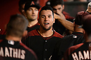 Aug 12, 2017; Phoenix, AZ, USA; Arizona Diamondbacks outfielder David Peralta (6) reacts while walking through the dugout in the game against the Chicago Cubs at Chase Field. Mandatory Credit: Jennifer Stewart-USA TODAY Sports