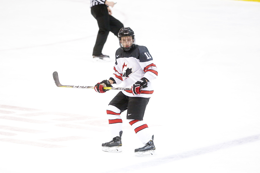 Dennis Busby (Flint Firebirds) seen representing Team Canada White in the 2016 World Under-17 Hockey Challenge played in Sault Ste. Marie, Ont. Photo by Kenneth Armstrong for CHL Images