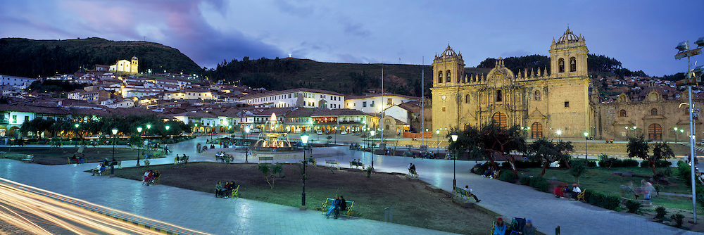 PERU, HIGHLANDS, CUZCO Plaza de Armas with Cathedral at night