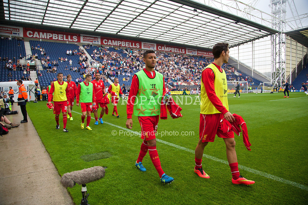 PRESTON, ENGLAND - Saturday, July 19, 2014: Liverpool's substitute Kevin Stewart before a preseason friendly match against Preston North End at Deepdale Stadium. (Pic by David Rawcliffe/Propaganda)