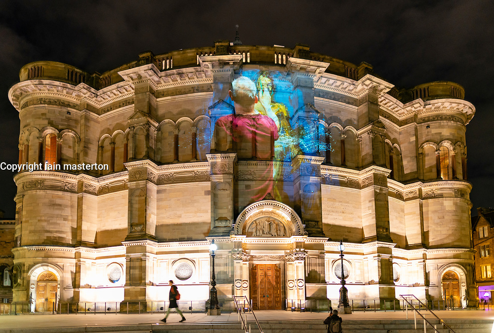 Edinburgh, Scotland, UK. 5th November 2019. <br /> To celebrate their 2020/2021 season launch, Scottish Ballet collaborated with artist Alan McGowan to create a specially commissioned visual art projection that was unveiled in Edinburgh tonight. Scottish Ballet are performing three ballets this Christmas; Swan Lake, The Nutcracker and The Scandal at Mayerling. The projection features a time-lapse film of the artist painting the 2020 campaign imagery for three paintings; one for each ballet and was projected onto the University of Edinburgh's McEwan Hall. Pictured; Image of artist creating the Swan Lake painting. Iain Masterton/Alamy Live News.