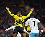 Watford's Obbi Oulare during the The FA Cup Third Round match between Watford and Newcastle United at Vicarage Road, Watford, England on 9 January 2016. Photo by Dave Peters.