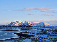 Seleyri and mount Víðdalsfjall at sunset. Northwest Iceland.