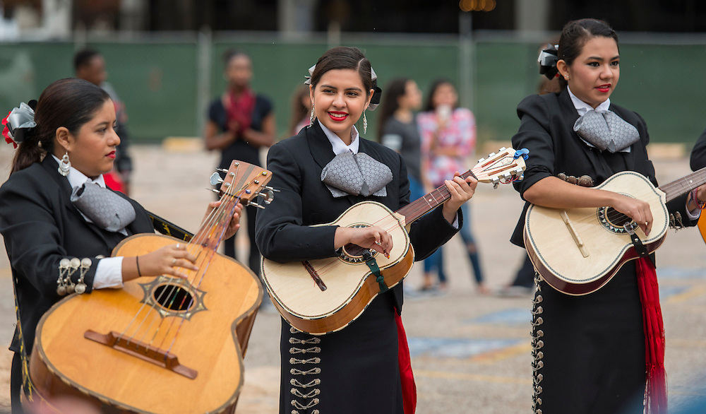 A student Mariachi band performs during a groundbreaking ceremony for the new High School for Performing and Visual Arts in downtown Houston, December 14, 2014.