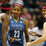 Maya Moore, (centre), Minnesota Lynx, with team mates during the Connecticut Sun Vs Minnesota Lynx, WNBA regular season game at Mohegan Sun Arena, Uncasville, Connecticut, USA. 27th July 2014. Photo Tim Clayton