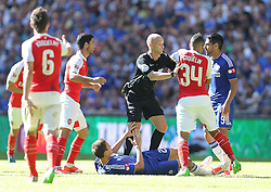 Referee Anthony Taylor breaks apart Mikel Arteta ( L ) and Francis Coquelin of Arsenal and Radamel Falcao of Chelsea ( R)  - Mandatory byline: Paul Terry/JMP - 07966386802 - 02/08/2015 - Football - Wembley Stadium -London,England - Arsenal v Chelsea - FA Community Shield