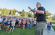 Matthew Ebbott directs Orientation student leaders and incoming freshmen in a series of games aimed at getting acquainted.