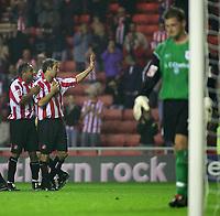 Photo. Andrew Unwin, Digitalsport<br /> Sunderland v Crewe Alexandra, Coca-Cola Championship, Stadium of Light, Sunderland 10/08/2004.<br /> Sunderland's Marcus Stewart (C) celebrates his team's second goal with Jeff Whitley (L).