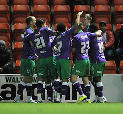 Bristol City's Aden Flint celebrates with his team mates after scoring. - Photo mandatory by-line: Dougie Allward/JMP - Mobile: 07966 386802 - 03/03/2015 - SPORT - football - Leyton - Brisbane Road - Leyton Orient v Bristol City - Sky Bet League One