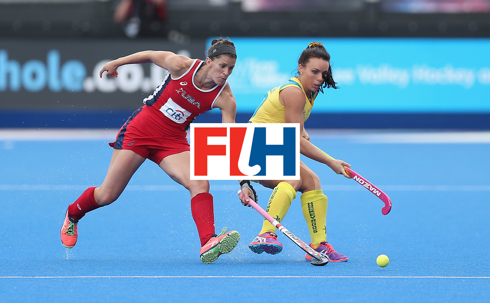 LONDON, ENGLAND - JUNE 18:  Georgie Parker of Australia and Rachel Dawson of USA during the FIH Women's Hockey Champions Trophy match between USA and Australia at Queen Elizabeth Olympic Park on June 18, 2016 in London, England.  (Photo by Alex Morton/Getty Images)