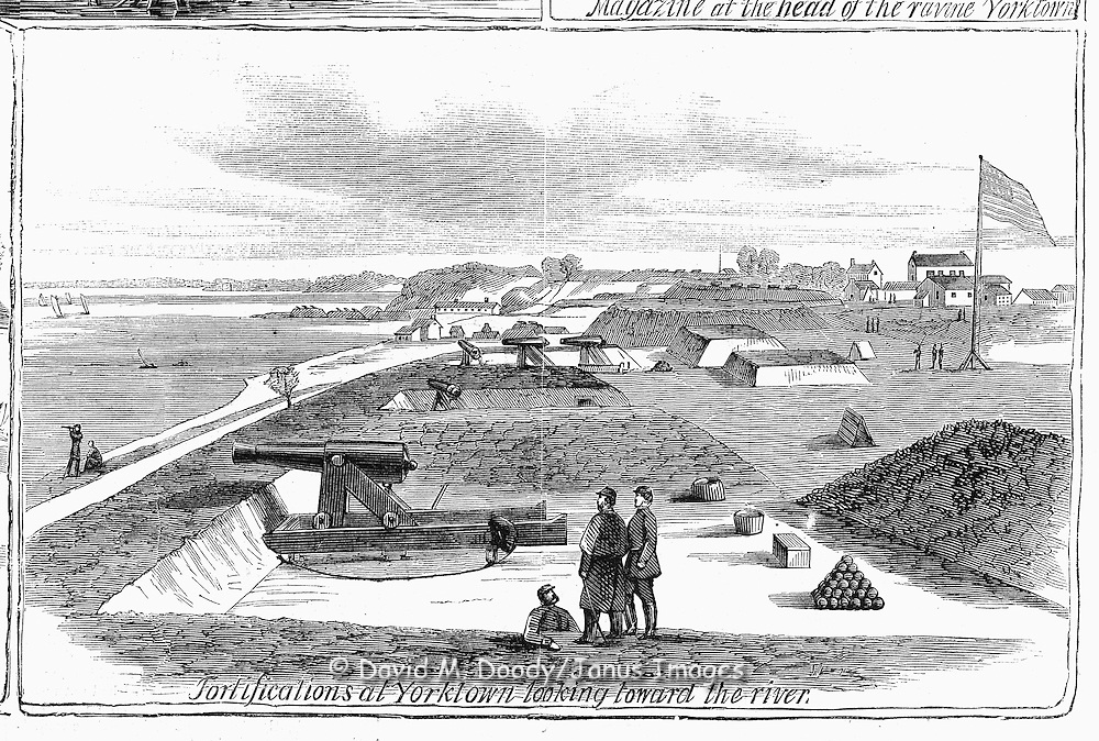 Civil War: Virginia  Yorktown, Virginia Area, 1862 peninsula campaign Civil War Observation Balloon (early military aviation) Harper's Weekly, May 24, 1862.Page 329
