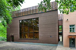 H. Eller music school, college in Tartu, Estonia. Large modern building, brick wall.