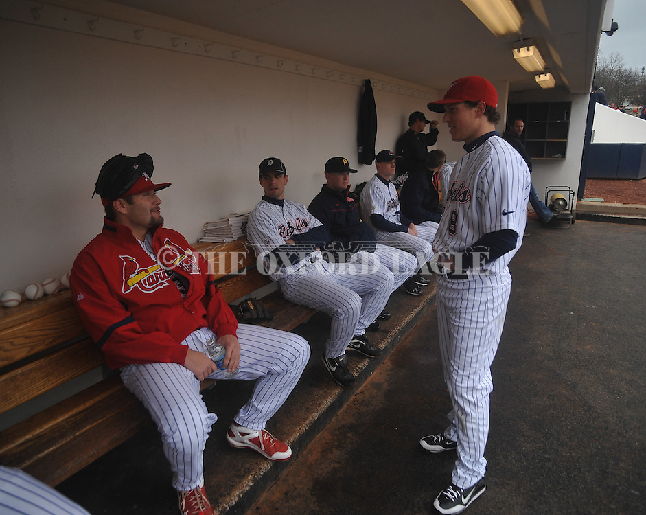 Former Rebels Lance Lynn (left) and Chris Coghlan at the Ole Miss baseball alumni game at Oxford-University Stadium in Oxford, Miss. on Saturday, February 5, 2011.