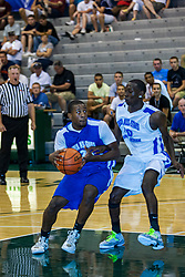 23 June 2012: Daryn Foster guarded by Deontre Brown.  Illinois Basketball Coaches Association (IBCA) All Star game at Shirk Center, Illinois Wesleyan, Bloomington, IL