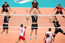 10.09.2011, O2 Arena, Prag, CZE, Europameisterschaft Volleyball Maenner, Vorrunde D, Deutschland (GER) vs Polen (POL), im Bild Michal Kubiak (#13 POL) - Patrick Steuerwald (#17 GER / Warschau POL), Marcus Böhme/Boehme (#8 GER / Friedrichshafen GER), Robert Kromm (#14 GER / Verona ITA) // during the 2011 CEV European Championship, Germany vs Poland at O2 Arena, Prague, 2011-09-10. EXPA Pictures © 2011, PhotoCredit: EXPA/ nph/  Kurth       ****** out of GER / CRO  / BEL ******