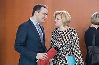 27 FEB 2019, BERLIN/GERMANY:<br /> Jens Spahn (L), CDU, Bundesgesundheitsminister, und Julia Kloeckner (R), CDU, Bundeslandwirtschaftsministerin, im Gespraech, vor Beginn der Kabinettsitzung, Bundeskanzleramt<br /> IMAGE: 20190227-01-005<br /> KEYWORDS: Kabinett, Sitzung, Gespräch, Julia Klöckner