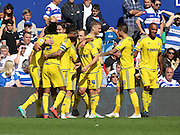 Forest celebrating the second and what turned out to be the winning goal to make the score 2-1 to Forest during the Sky Bet Championship match between Queens Park Rangers and Nottingham Forest at the Loftus Road Stadium, London, England on 12 September 2015. Photo by Matthew Redman.