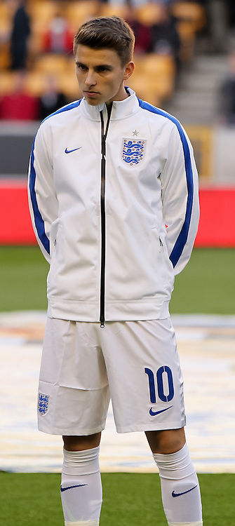 Tom Carroll of England lines up for the national anthems before the UEFA European Under 21 Qualifying match at Molineux, Wolverhampton<br /> Picture by Tom Smith/Focus Images Ltd 07545141164<br /> 10/10/2014
