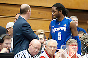 Shaq Goodwin #5 of the Memphis Tigers smiles as he walks past fans after being ejected from the game against the SMU Mustangs at Moody Coliseum on Wednesday, February 6, 2013 in University Park, Texas. (Cooper Neill/The Dallas Morning News)