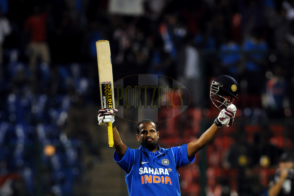 Yusuf Pathan of India celebrates after hitting a century during the 4th ODI ( One day international ) between  India and New Zealand held at the M Chinnaswamy Stadium in Bengaluru, Bangalore, Karnataka, India on the 7 th December 2010..Photo by Pal Pillai/BCCI/SPORTZPICS
