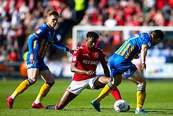 Joe Aribo of Charlton Athletic takes on Shaun Whalley of Shrewsbury Town - Mandatory by-line: Robbie Stephenson/JMP - 13/05/2018 - FOOTBALL - Montgomery Waters Meadow - Shrewsbury, England - Shrewsbury Town v Charlton Athletic - Sky Bet League One Play-Off Semi Final